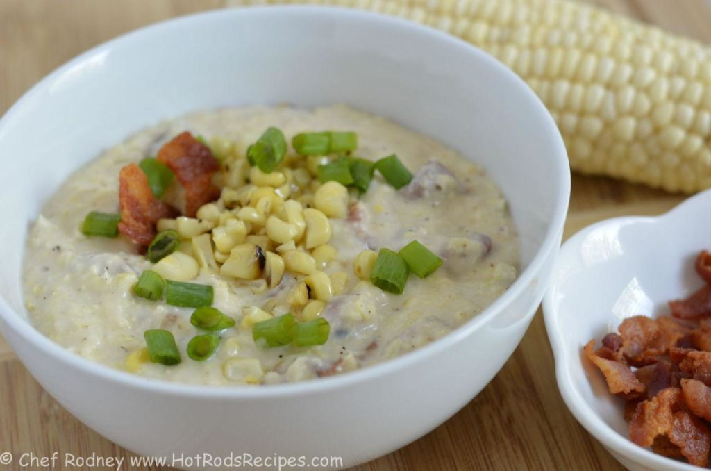 Grilled Corn and Chicken Soup