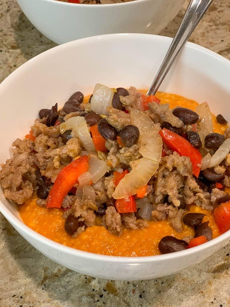 Pumpkin Polenta with Chorizo & Black Beans