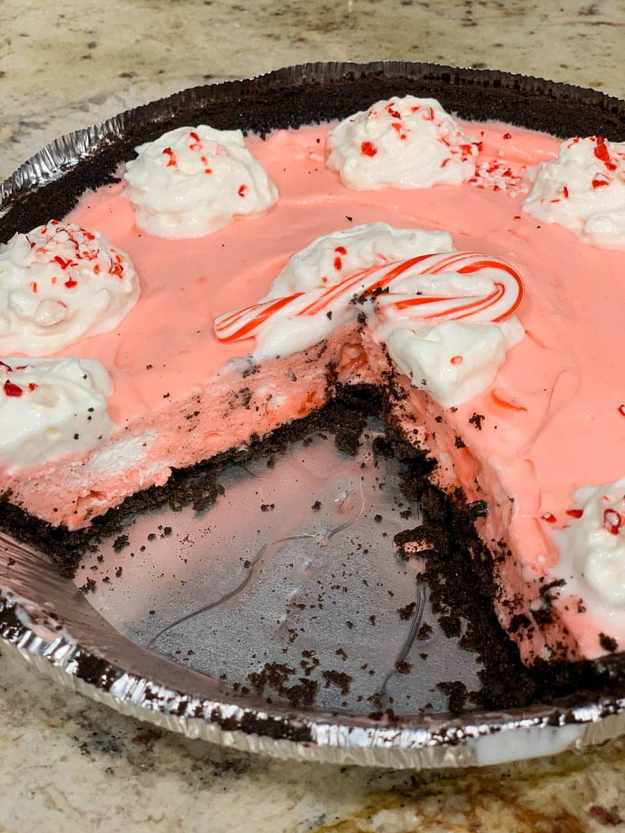 Christmas candy cane pie
