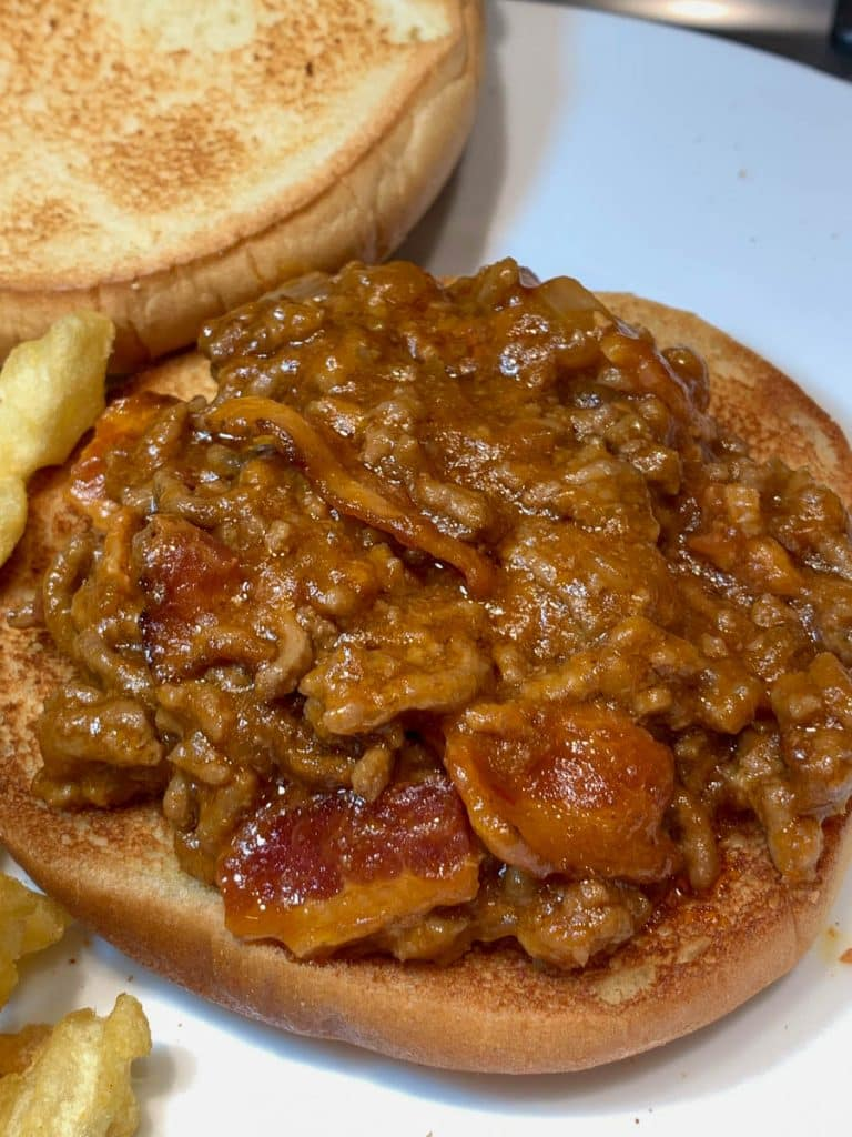 Bacon Beer & Cheese Sloppy Joe Sandwich