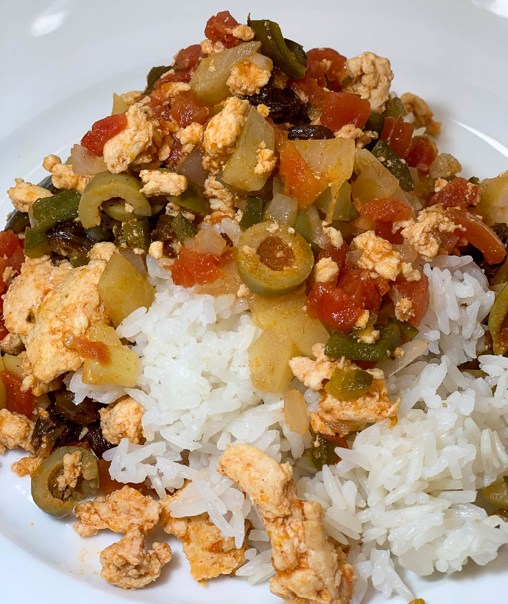 picadillo served over white rice