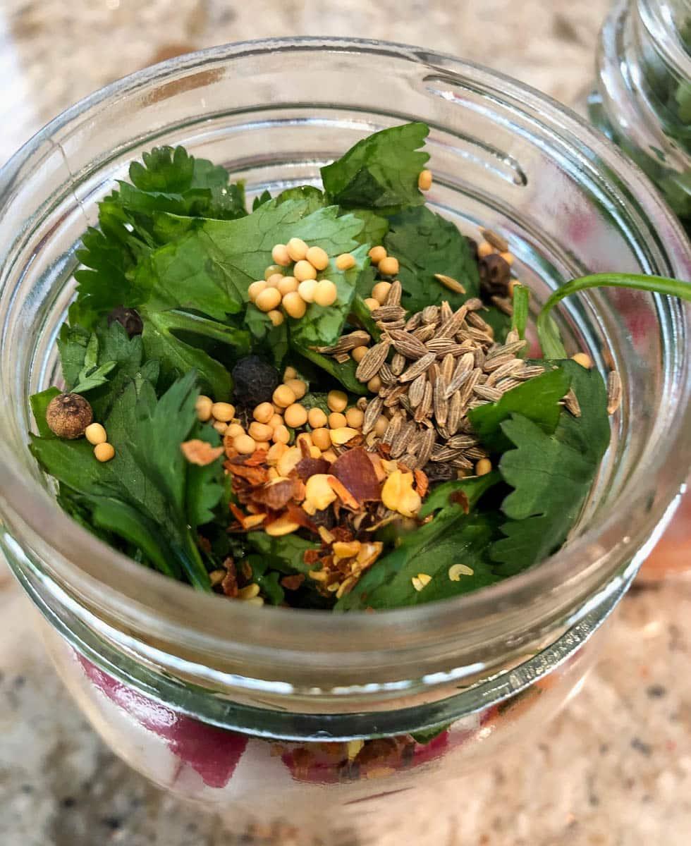 pickled veggie taco topping in mason jar