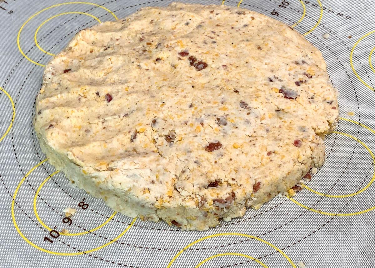bacon cheddar scones raw dough