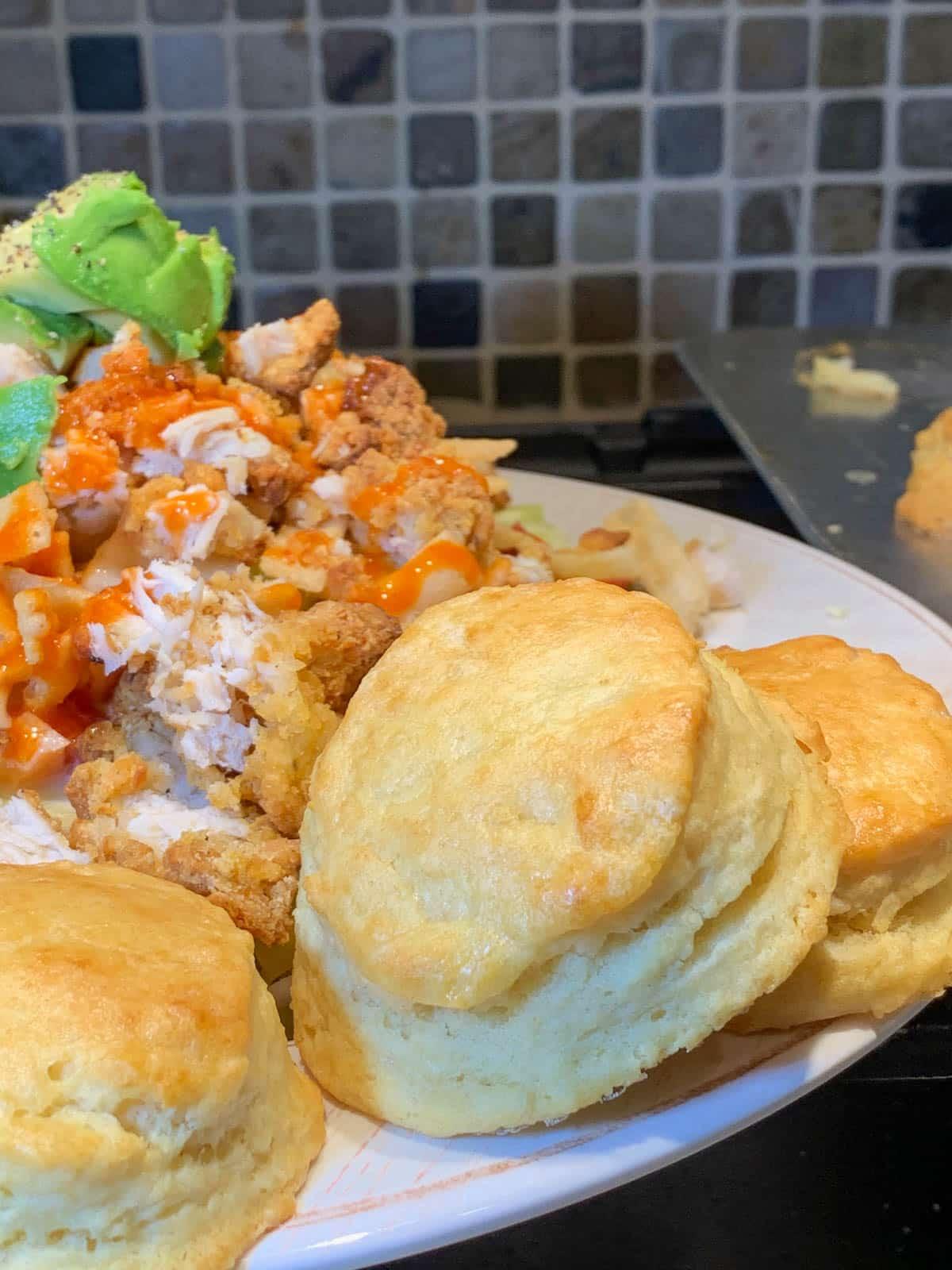 copycat kfc biscuits with salad