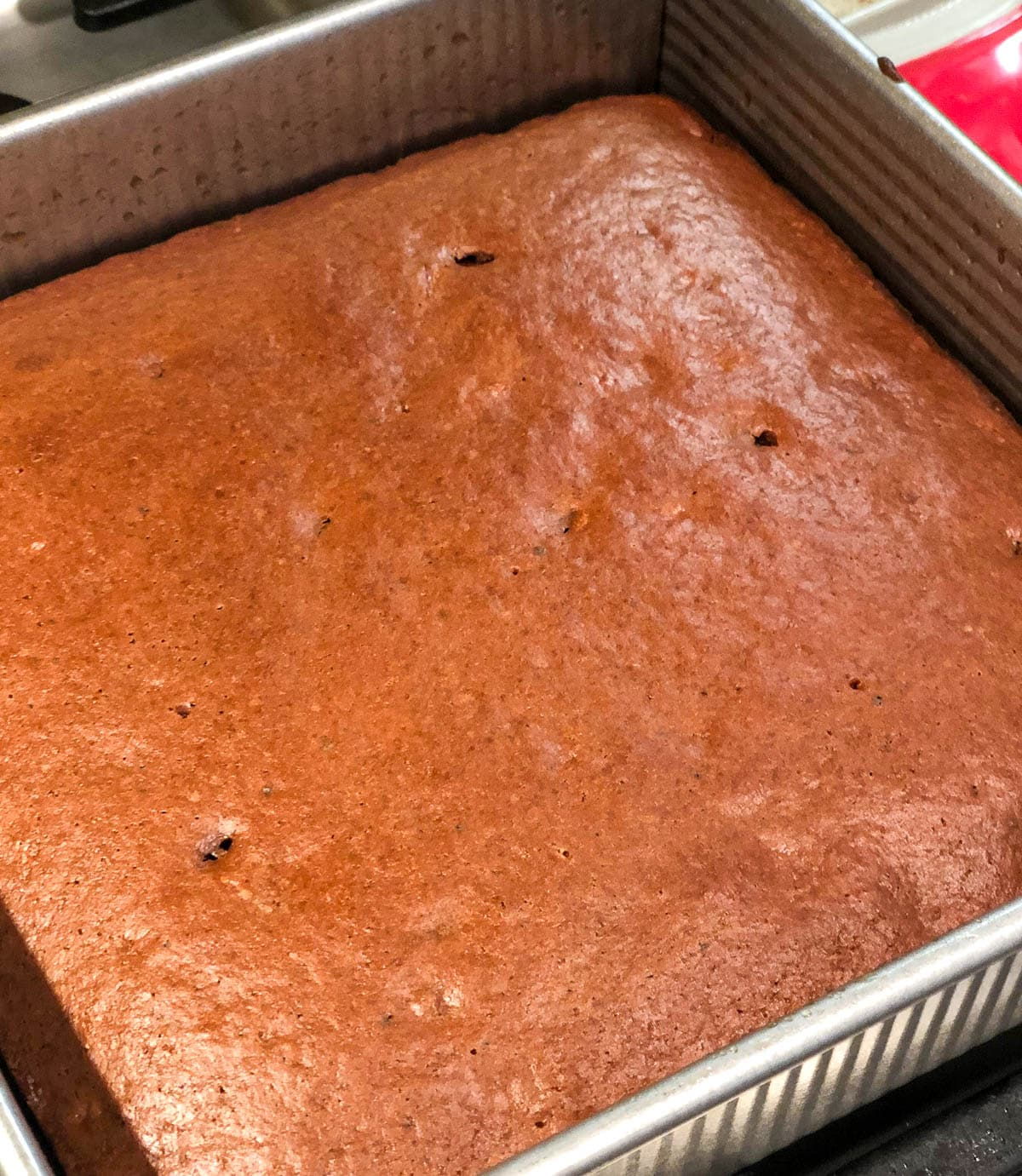 double chocolate banana cake fresh out of the oven