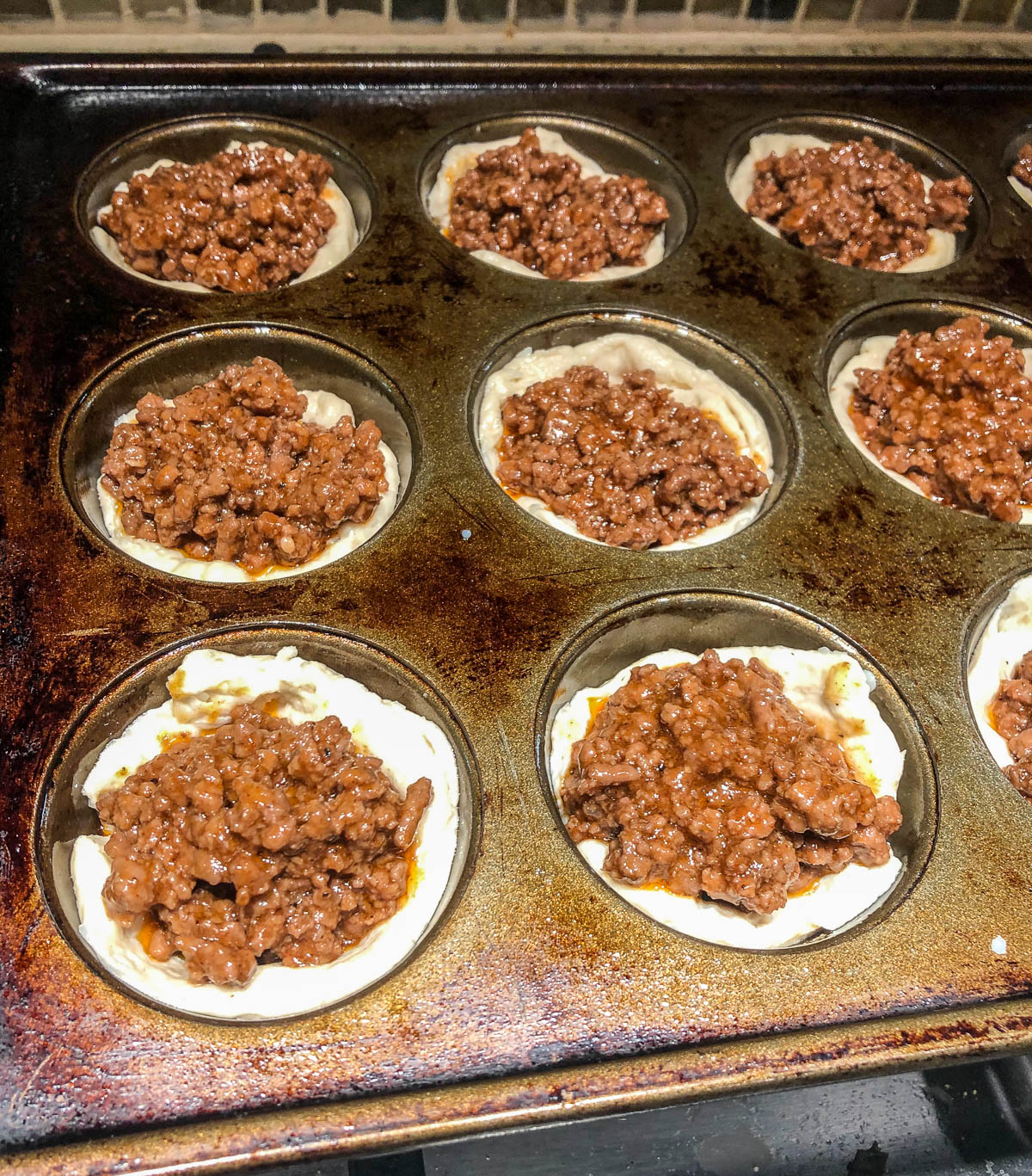 bbq beef muffins ready for baking
