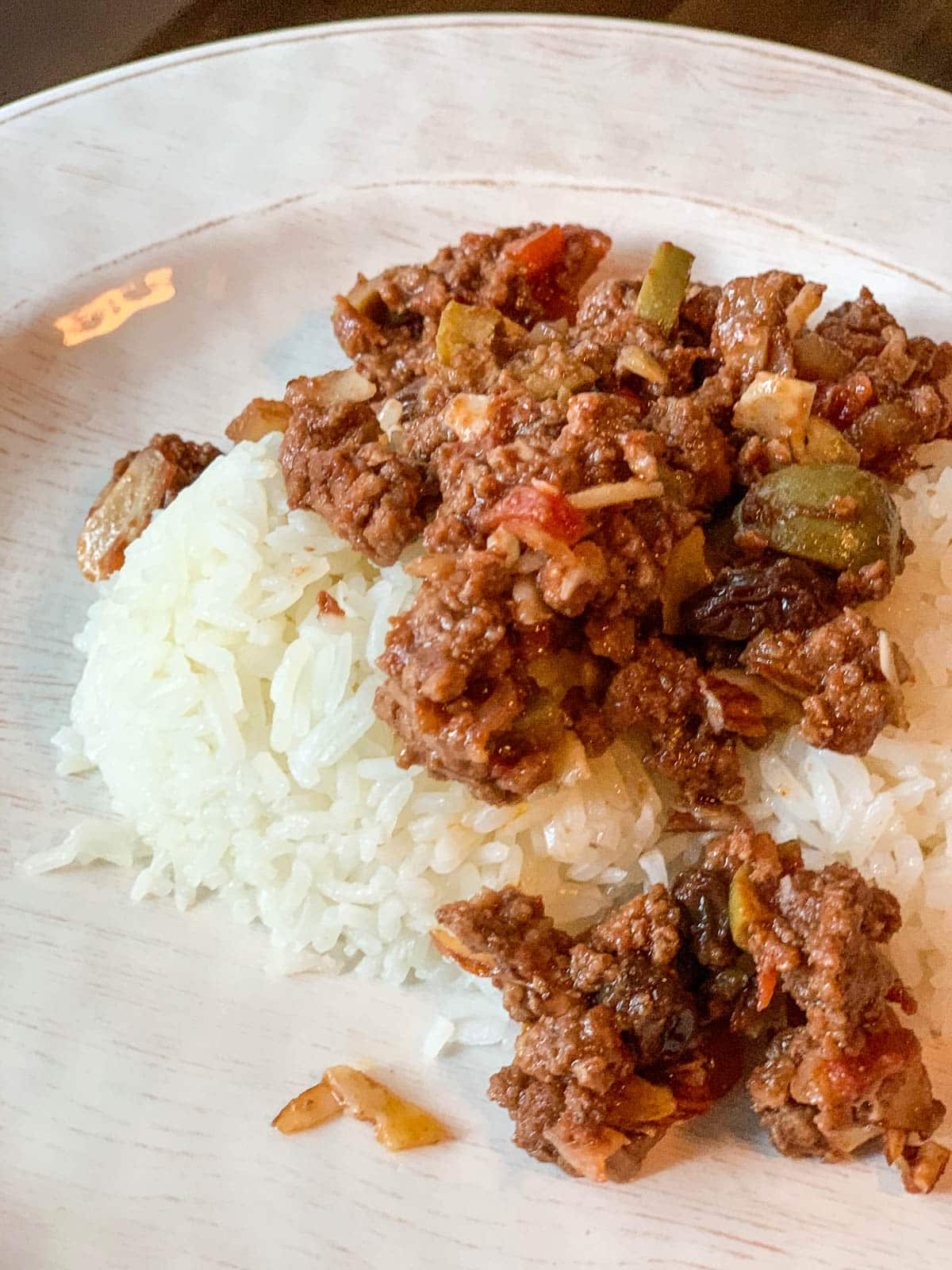 easy beef picadillo with rice