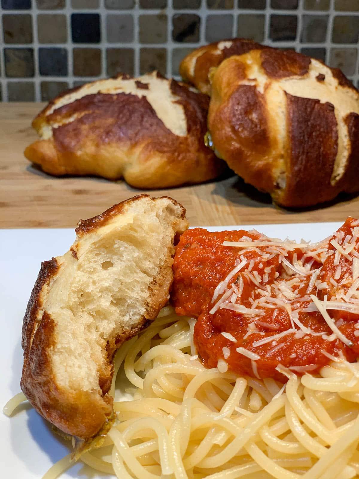 easy pretzel buns with spaghetti