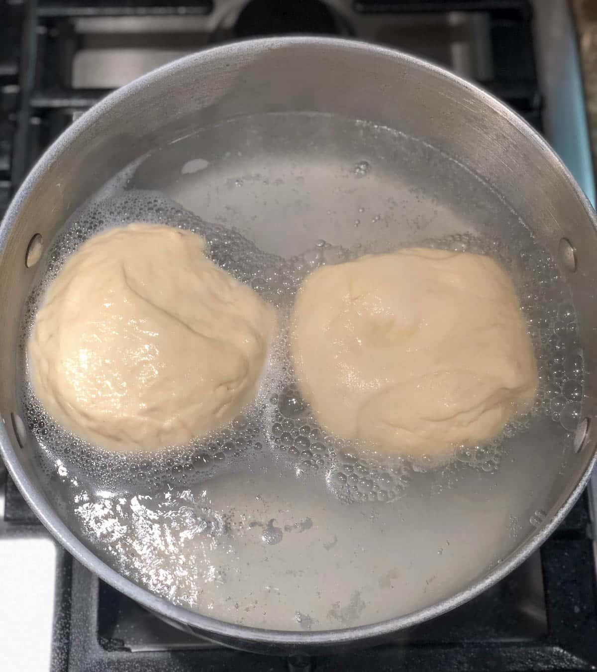 easy pretzel buns boiling in water