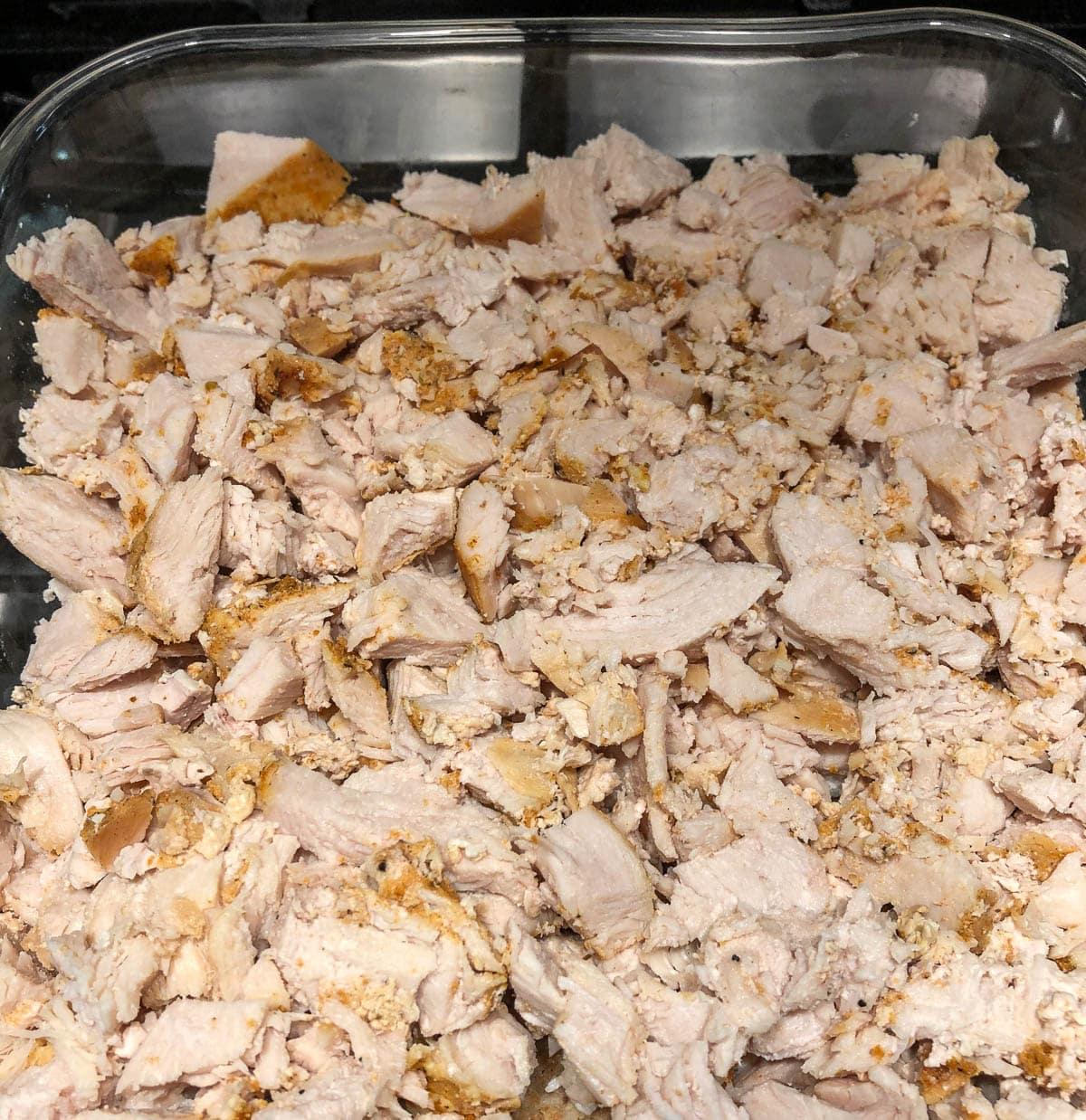thanksgiving turkey casserole being prepared