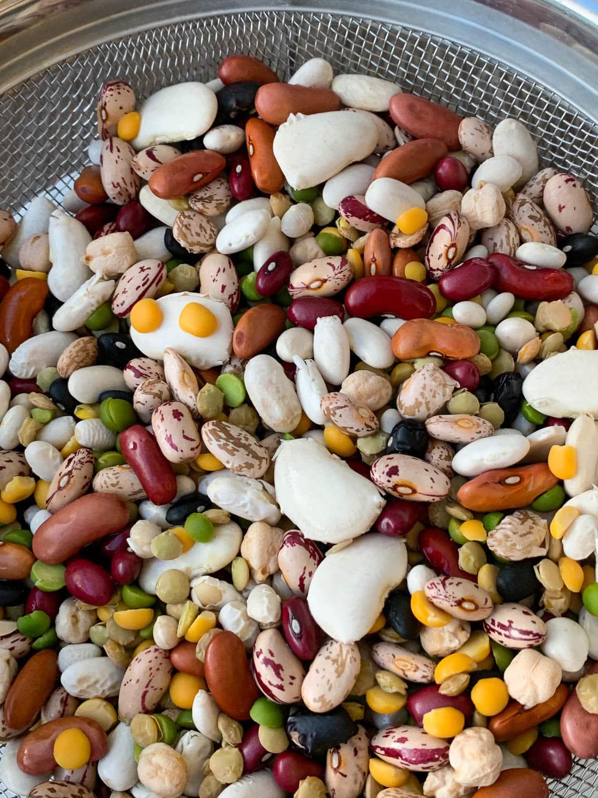 15 beans in colander