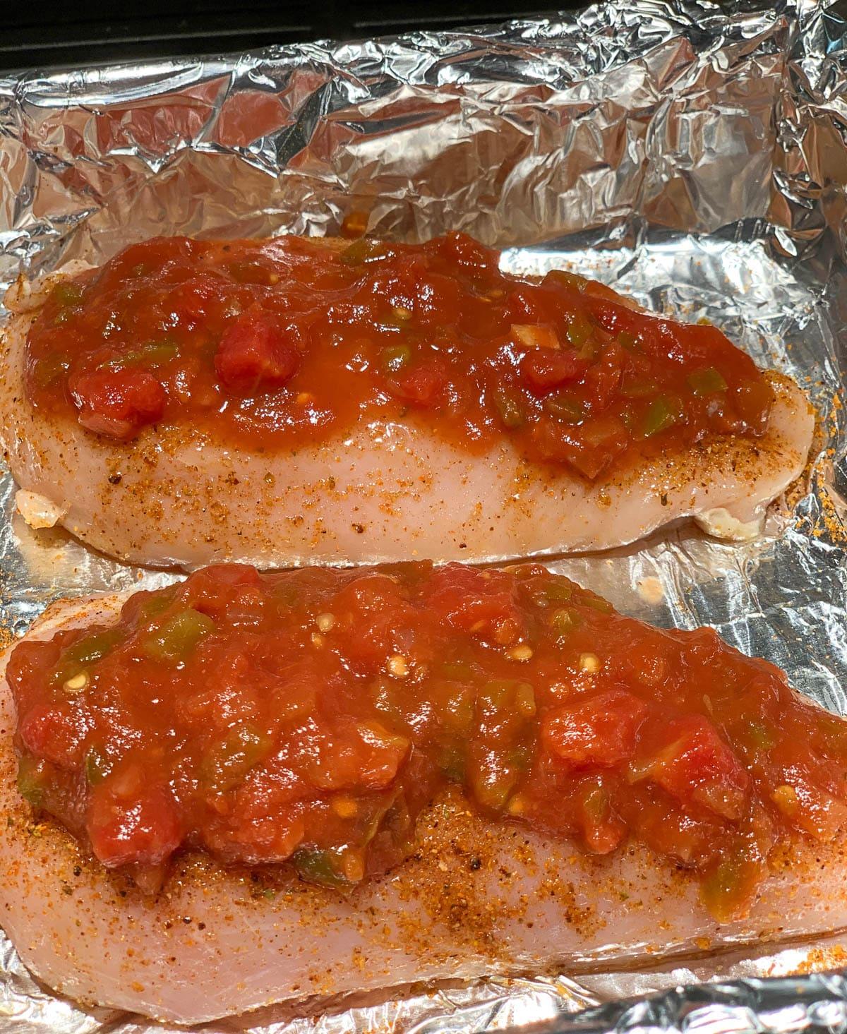 raw chicken with salsa
