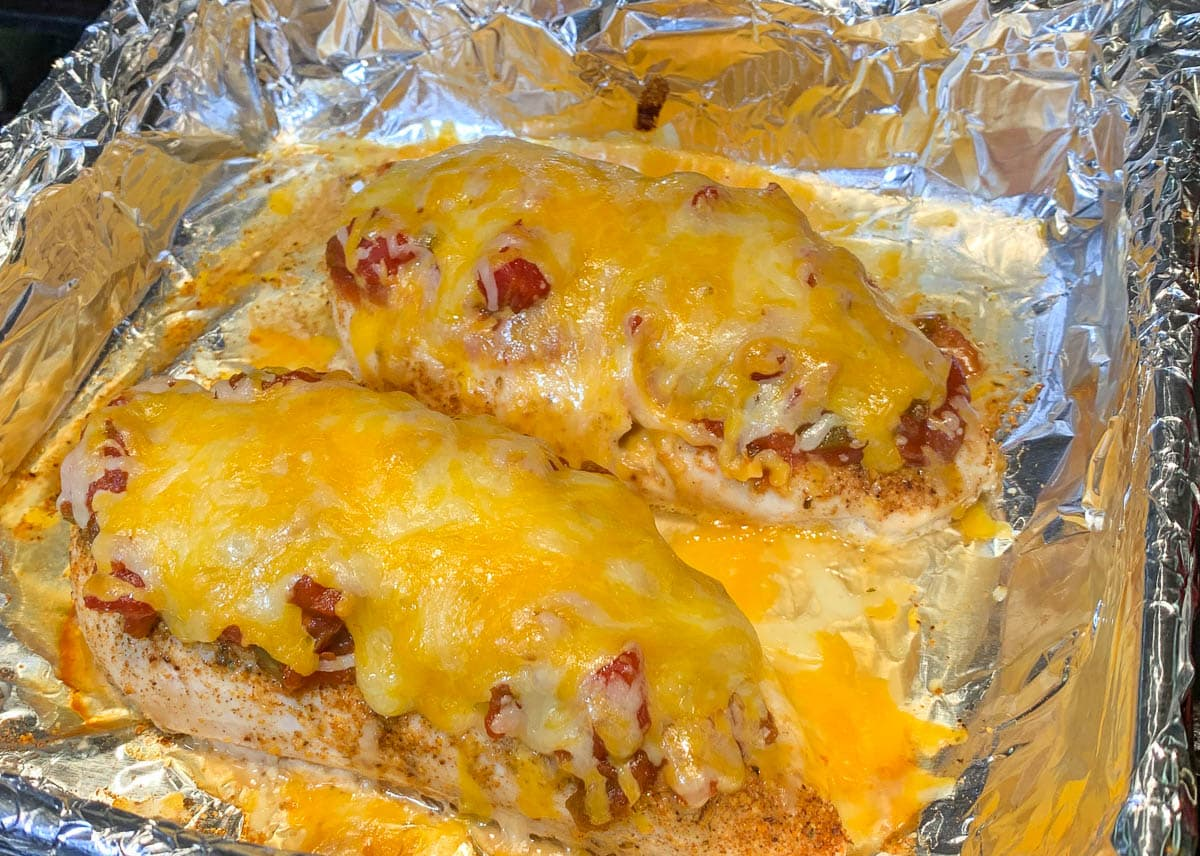 baked salsa chicken with melted cheese
