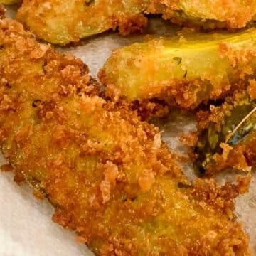 closeup of deep fried pickles
