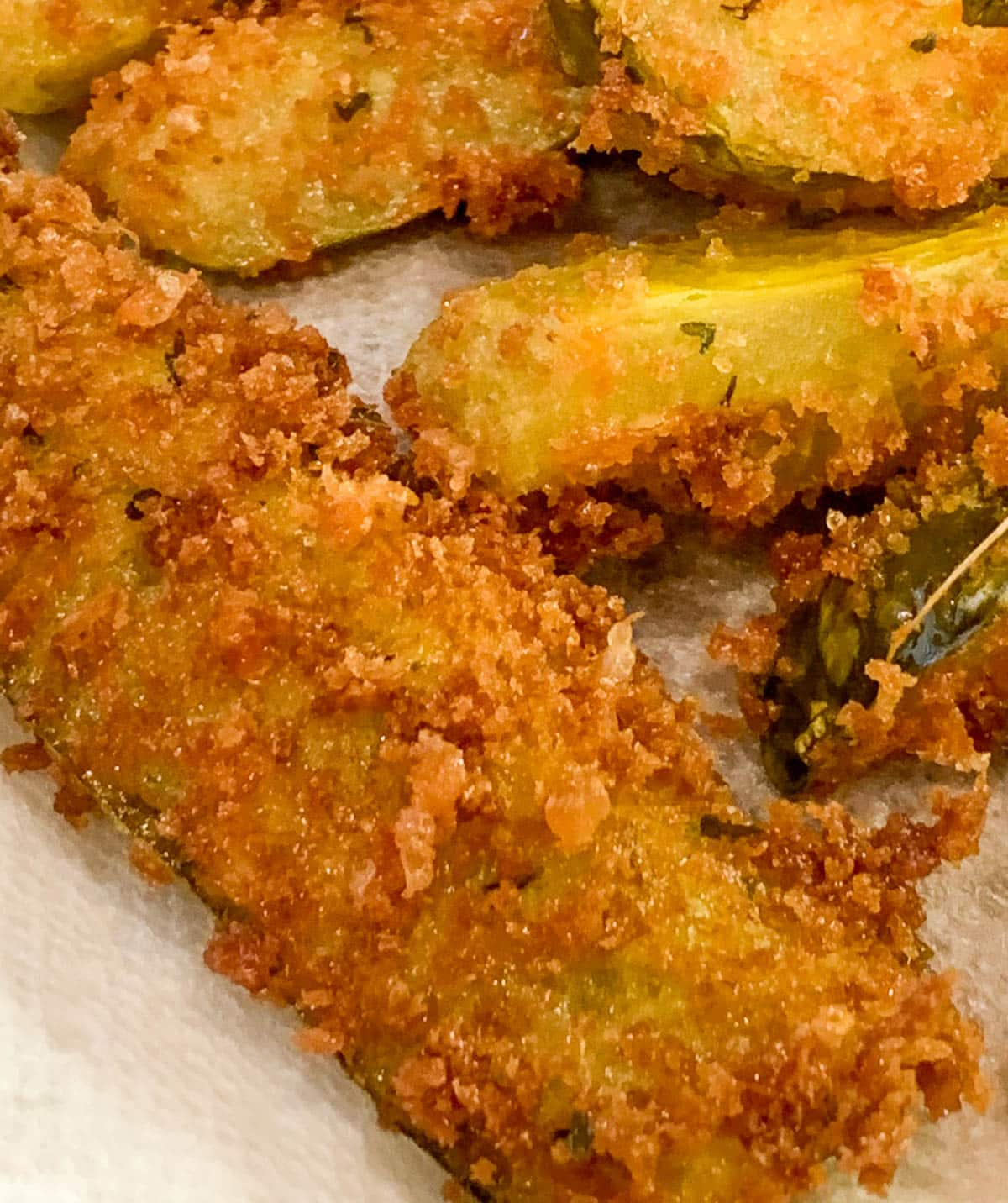 closeup of deep fried pickles