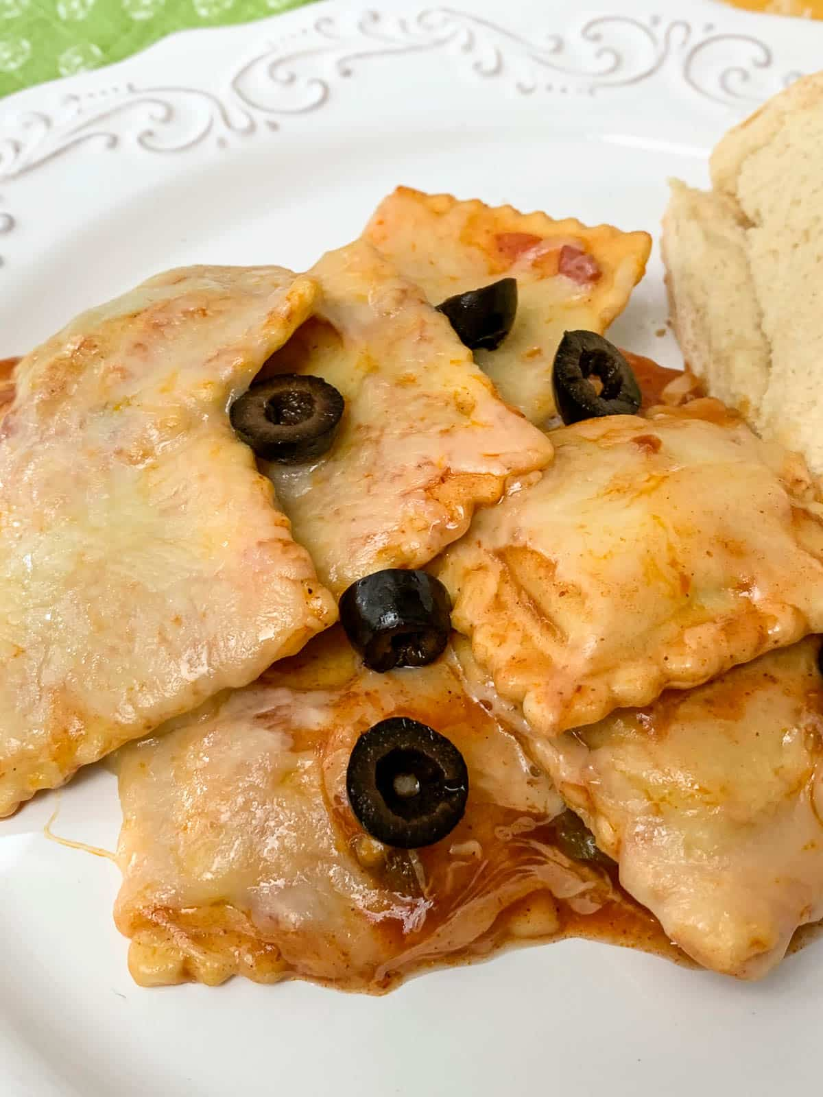 ravioli with black olives and cheese