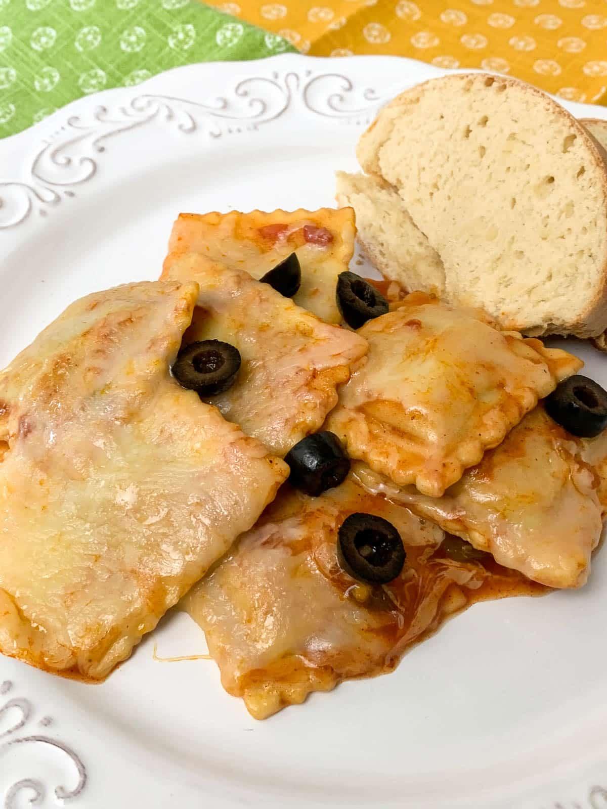 ravioli with black olives