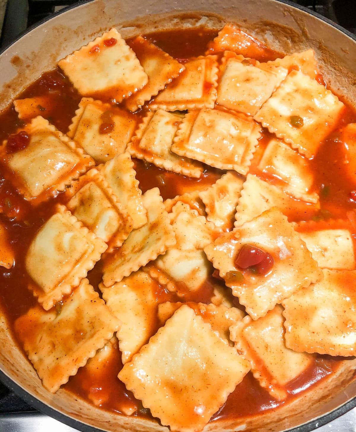 frozen beef ravioli in red sauce