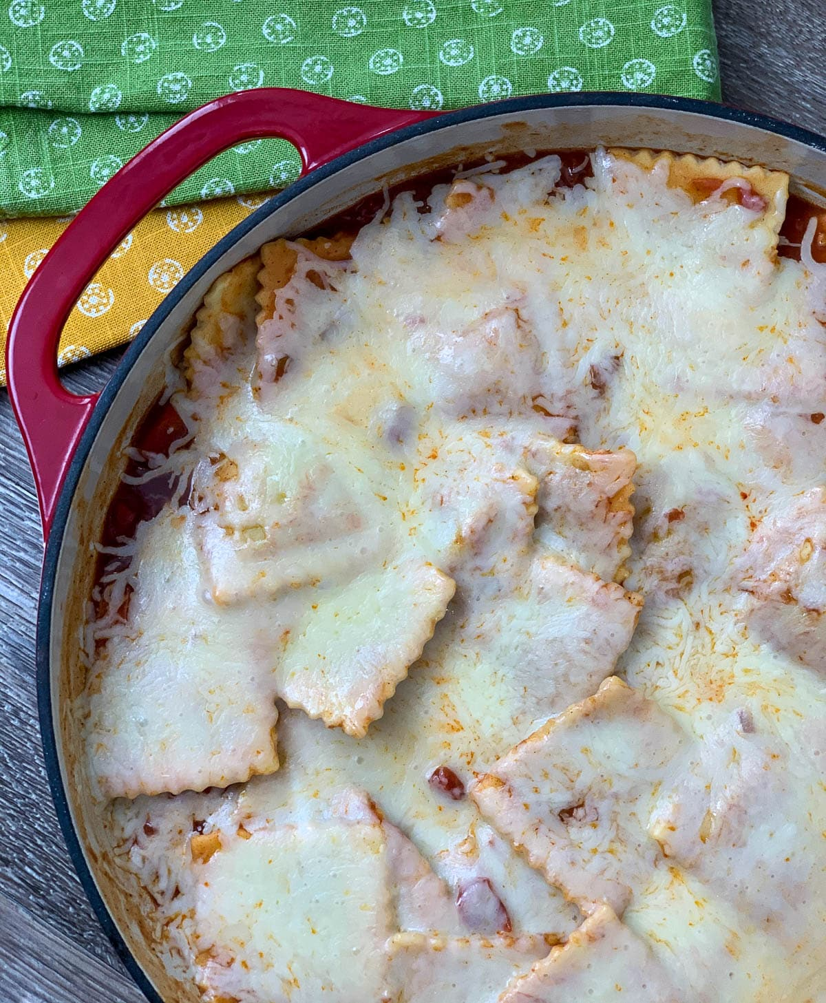 baked ravioli with melted cheese