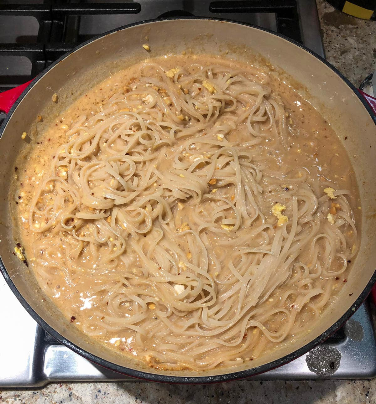 rice noodles in peanut sauce