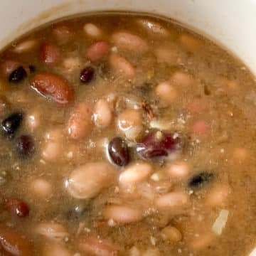 closeup ham and 15 bean soup in a bowl