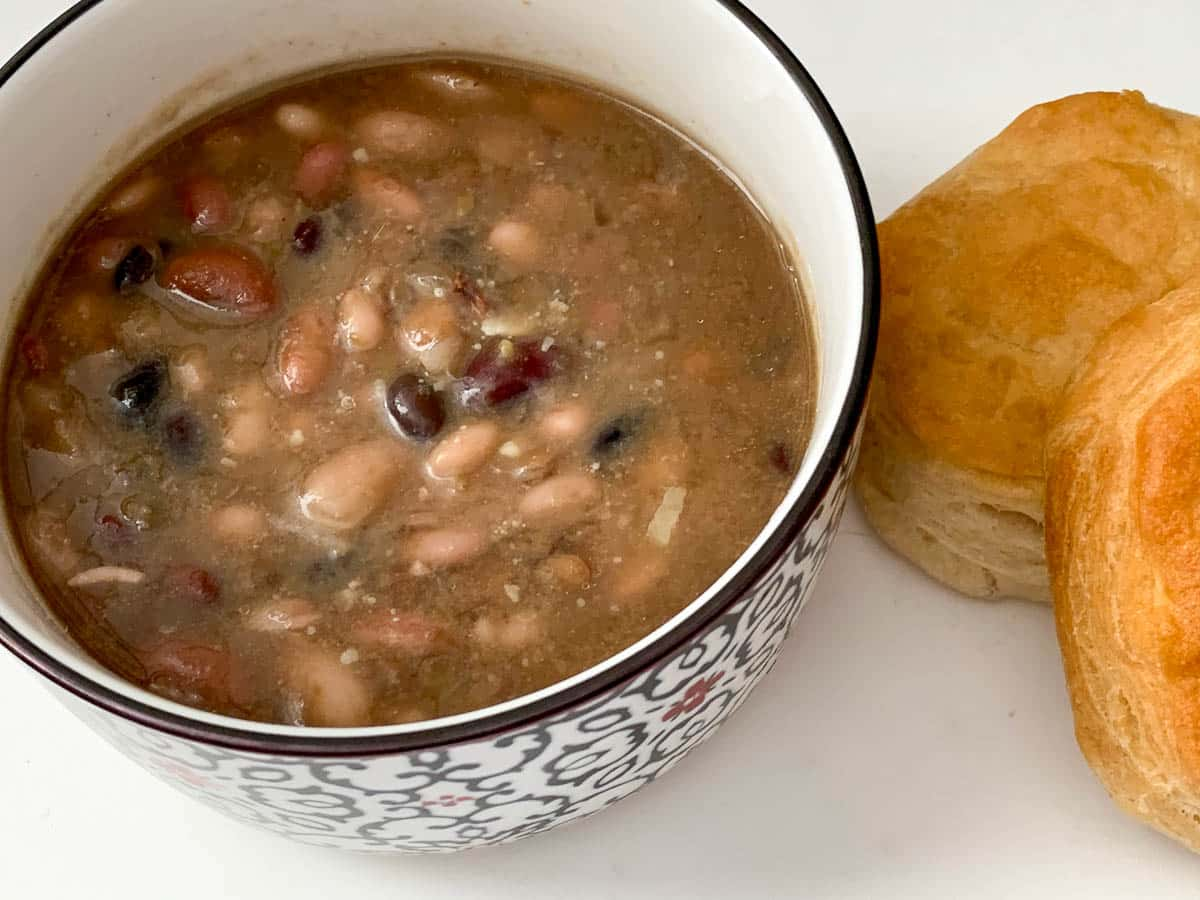 ham and 15 bean soup with biscuits