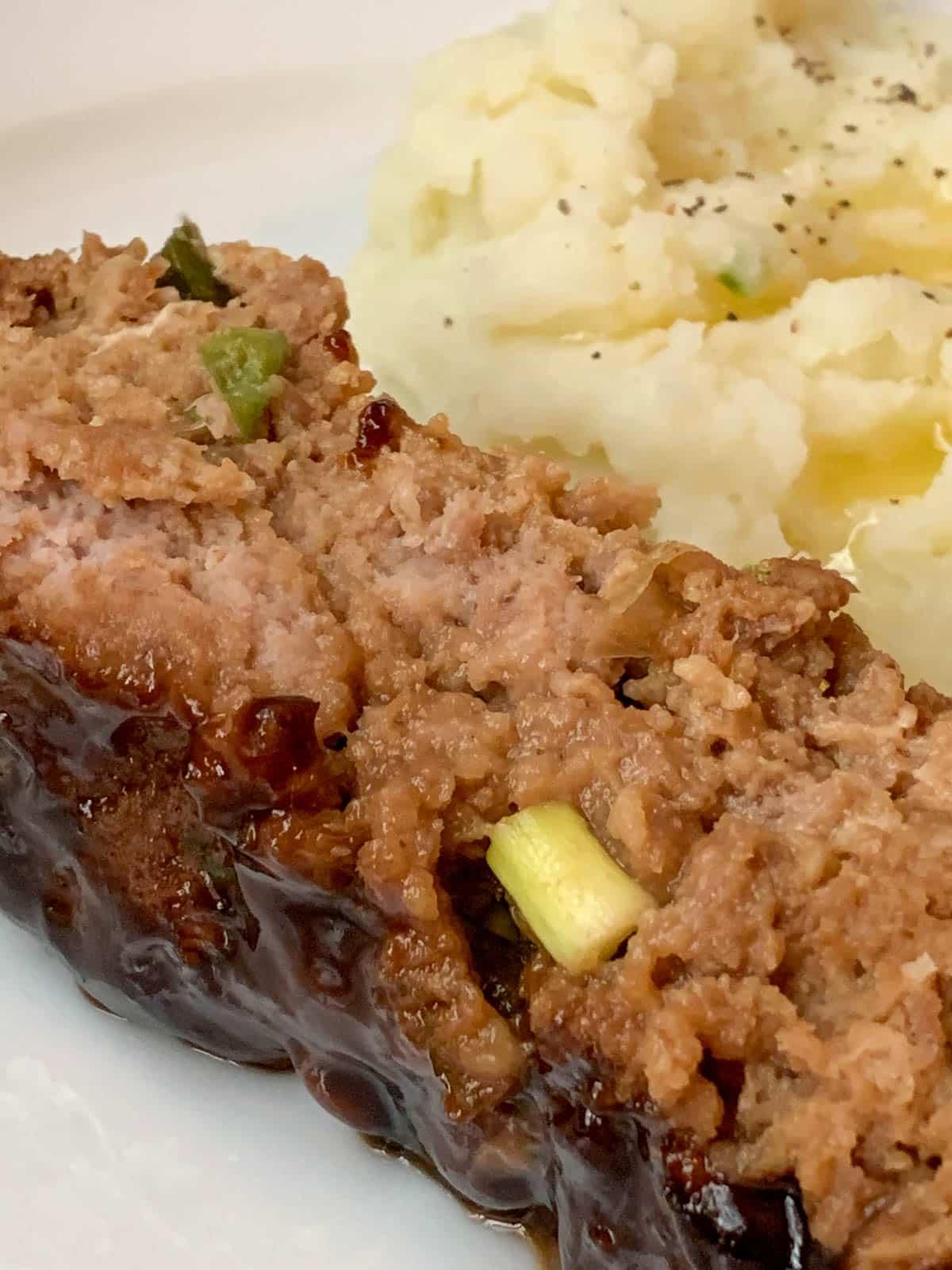 closeup of hoisin glazed turkey meatloaf
