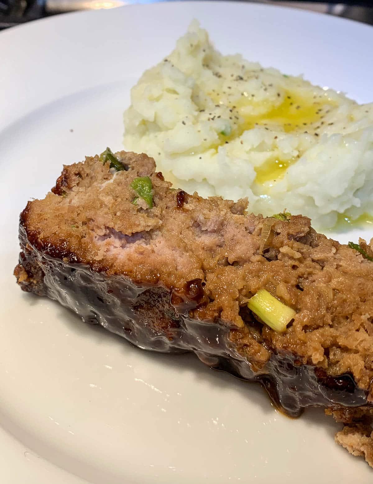 hoisin glazed turkey meatloaf with mashed potatoes