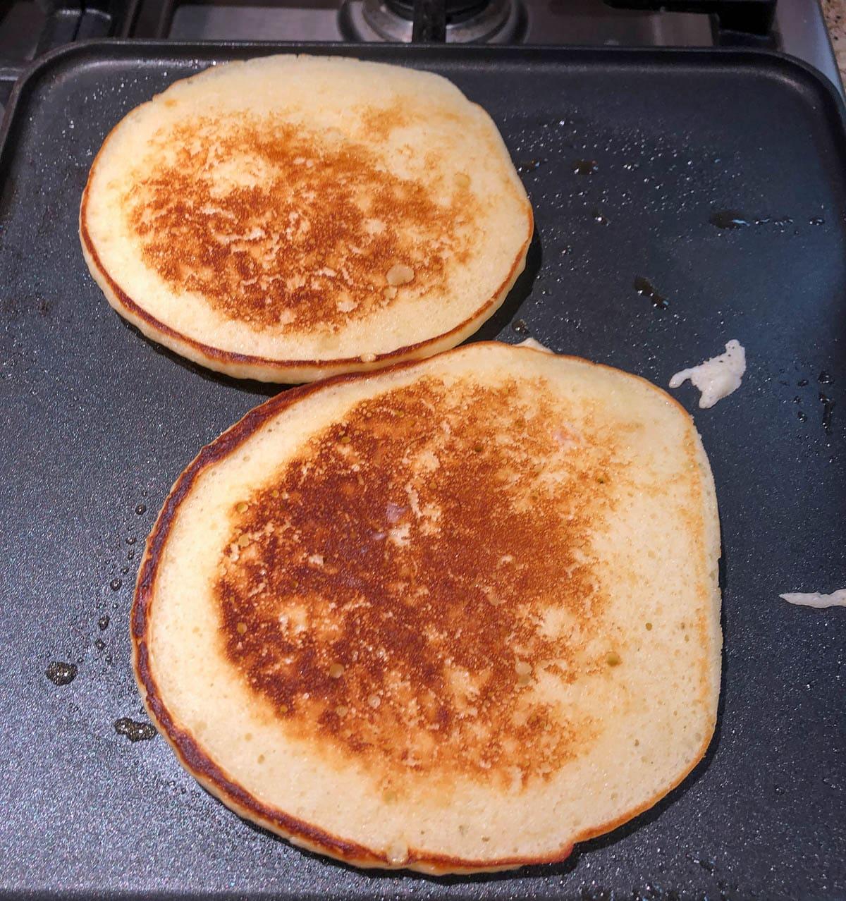 buttermilk pancakes on flattop