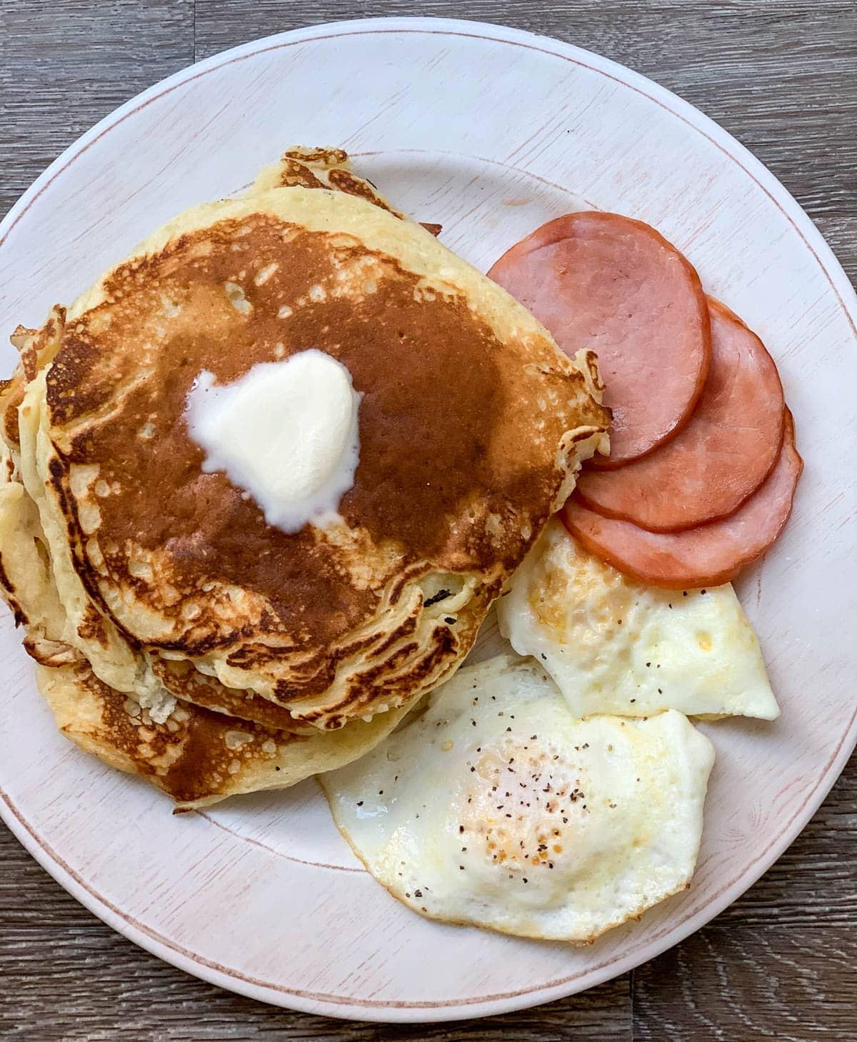 homemade buttermilk pancakes overhead shot