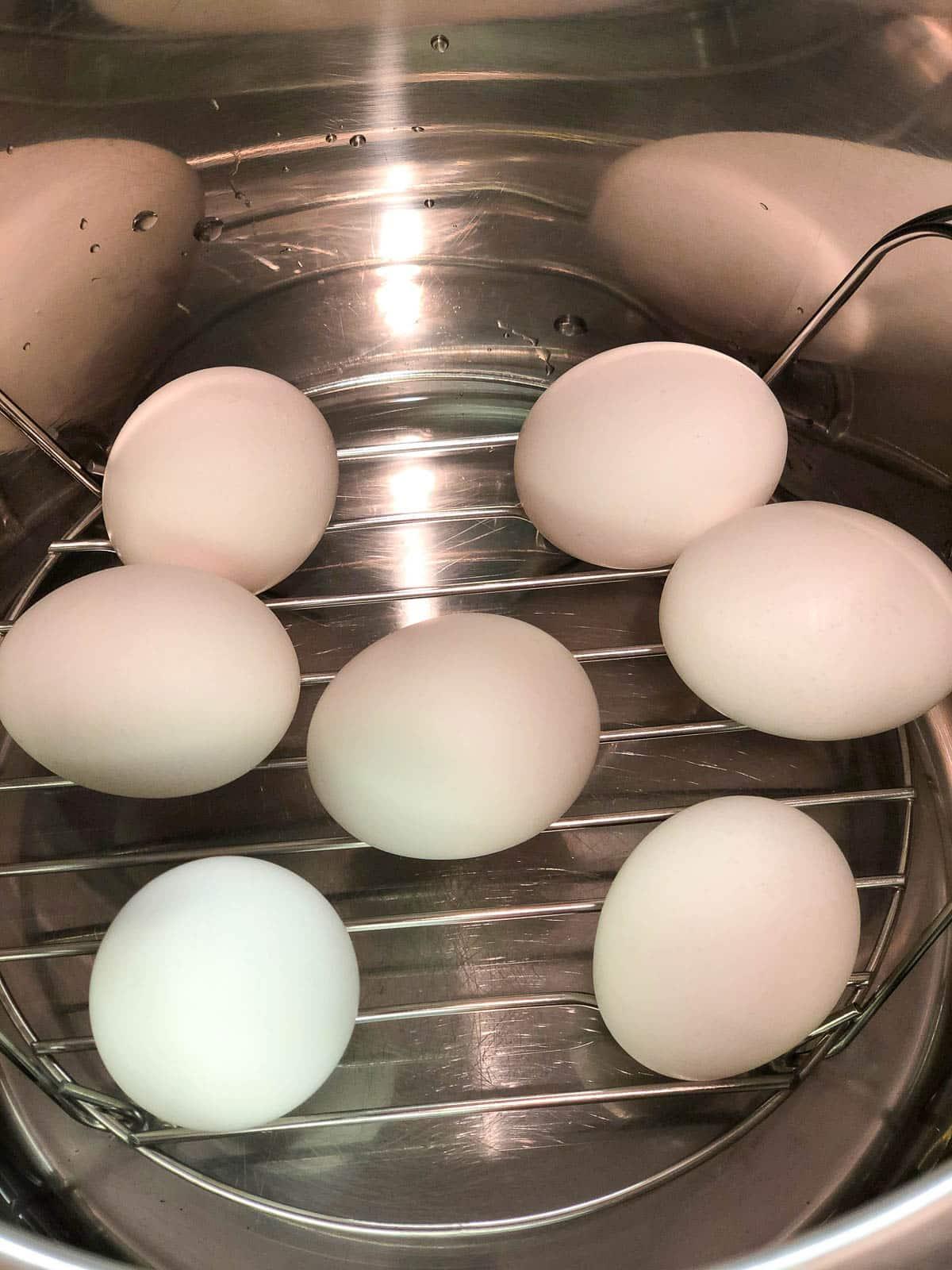 eggs on trivet in instant pot