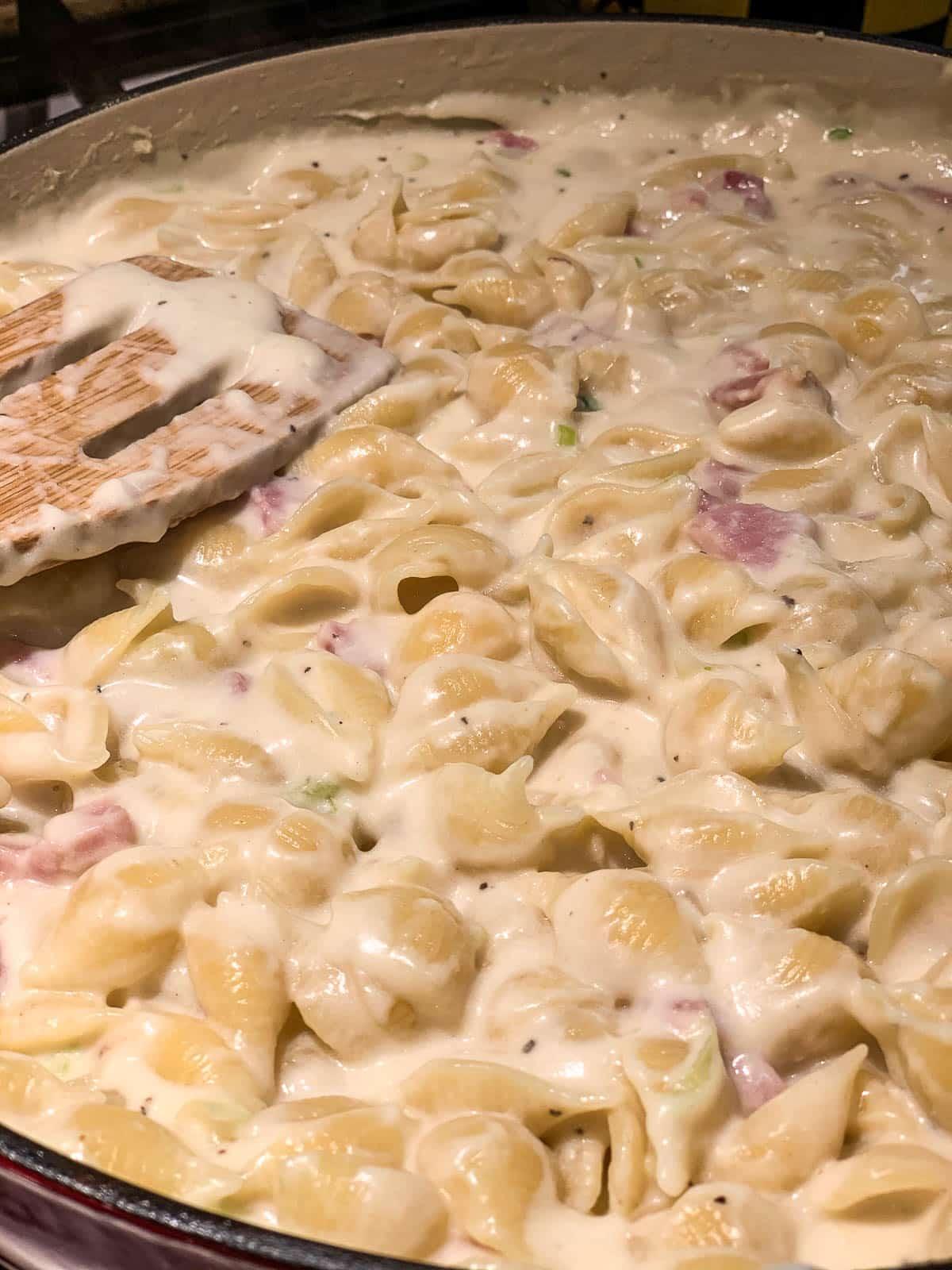 macaroni in cheese mixture