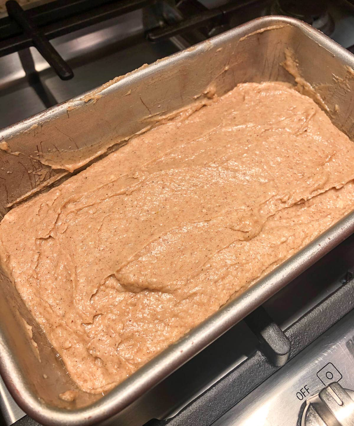 loaf batter ready for the oven