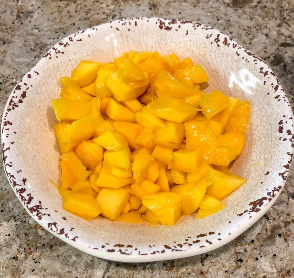 diced mango in a bowl
