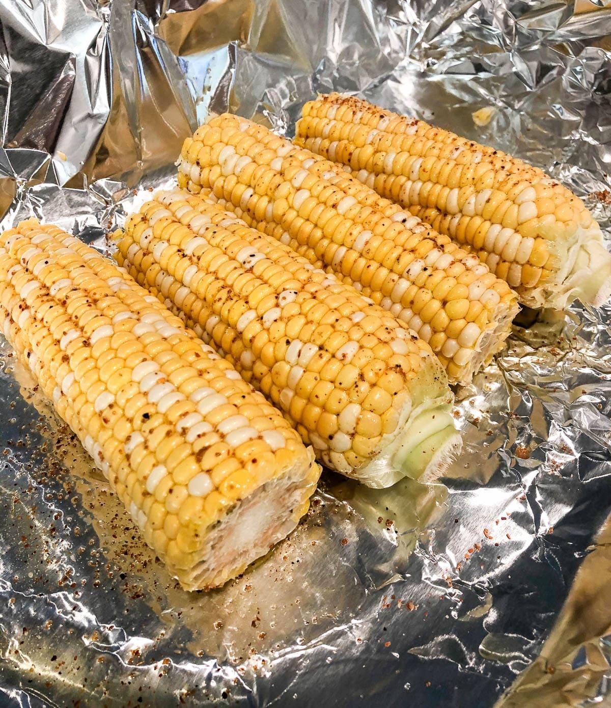 corn on the cob in foil