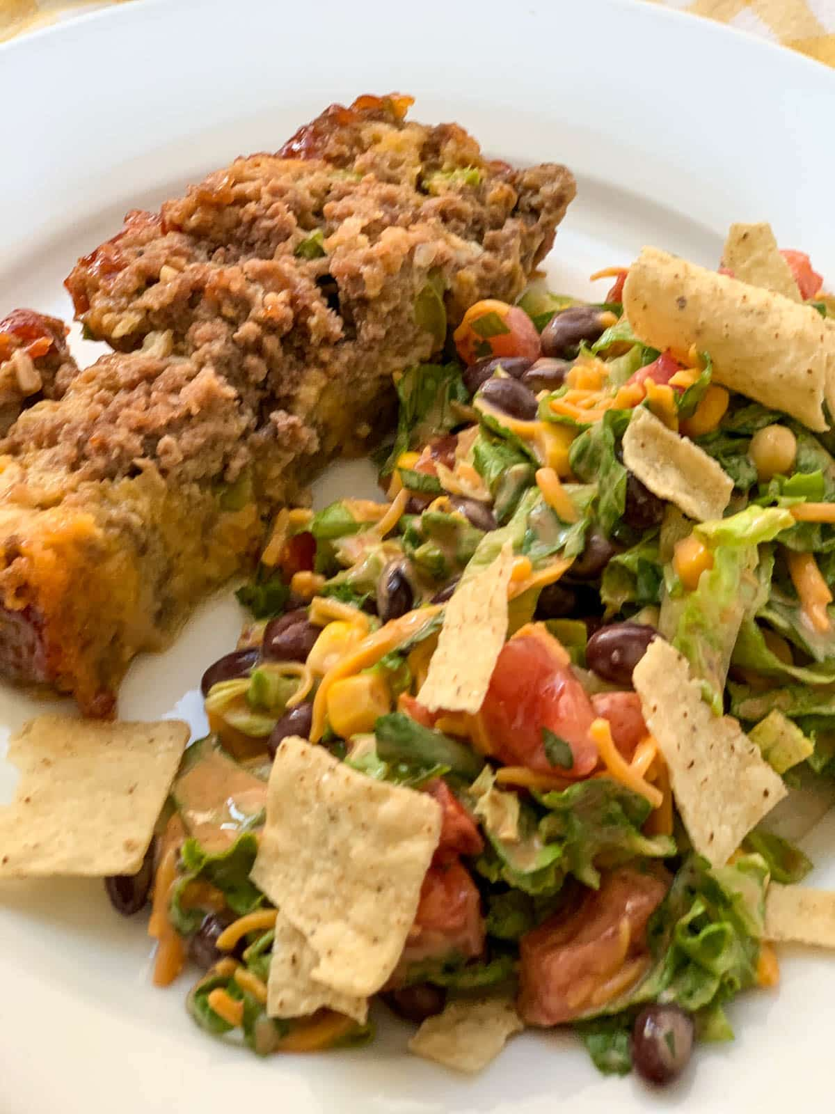 chopped salad with meatloaf