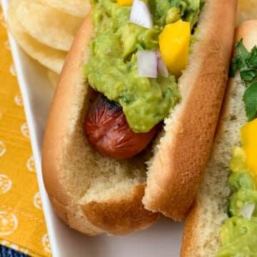 spicy guacamole hot dogs