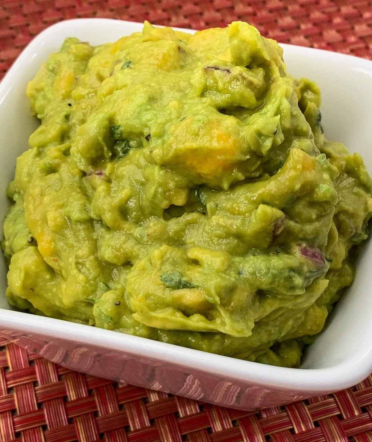 closeup of guacamole
