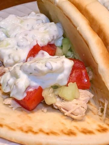 Grilled Chicken Gyros with Tzatziki Sauce