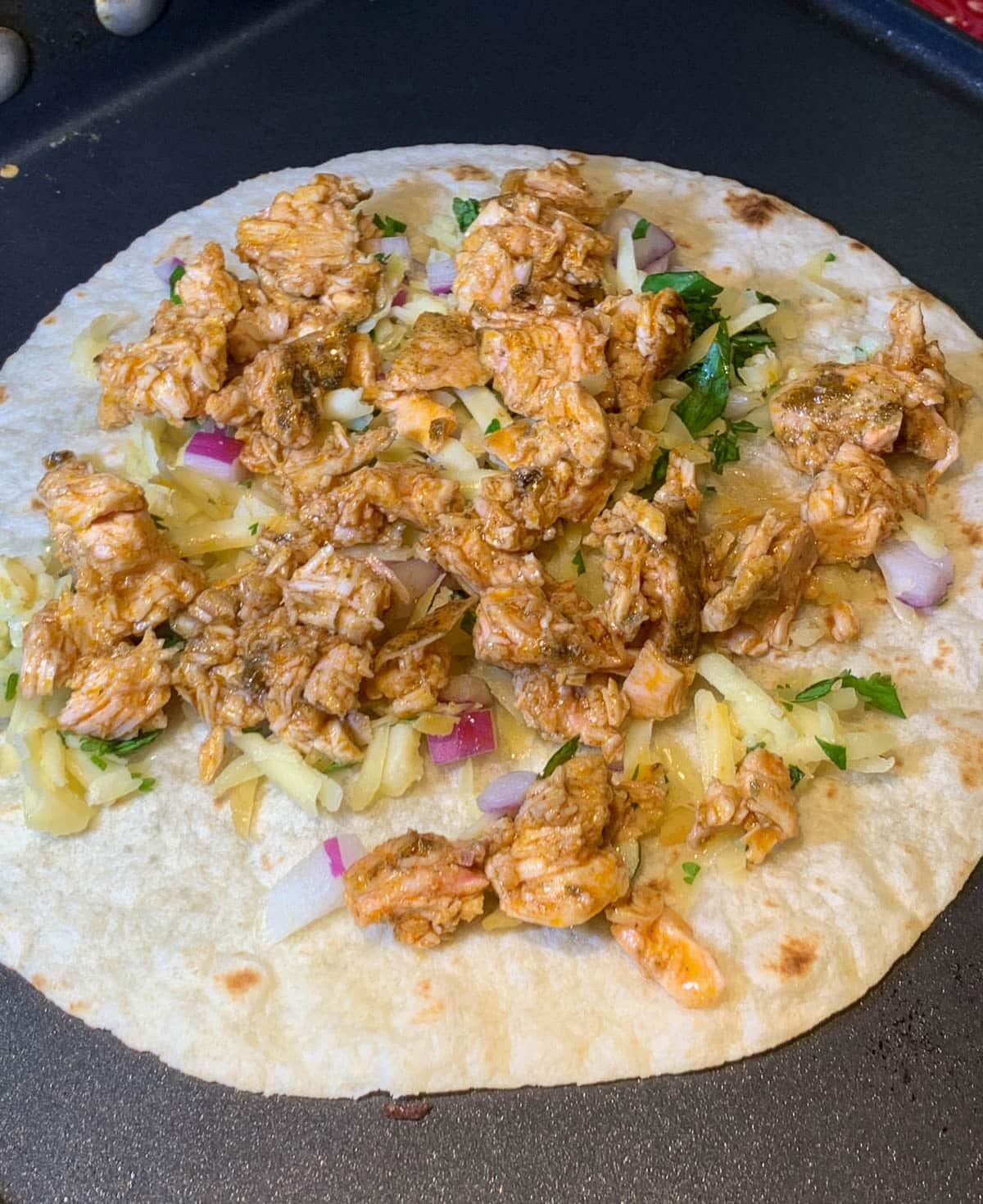 bbq chicken on flour tortilla