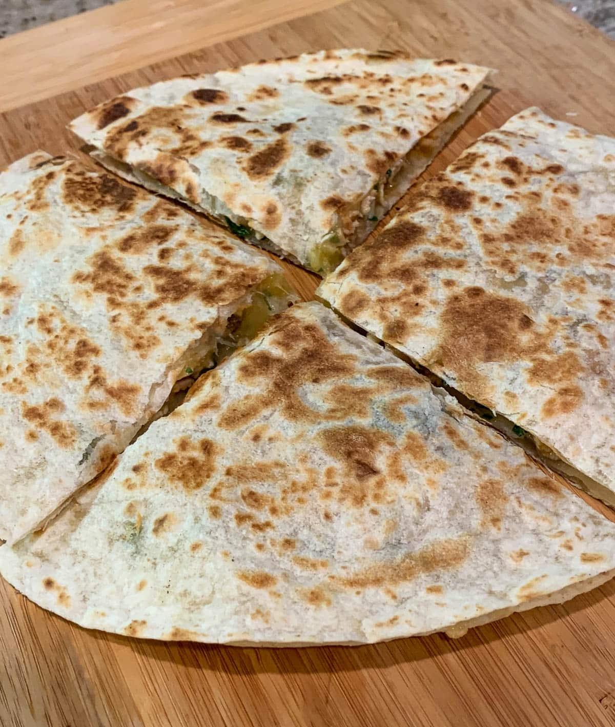quartered quesadilla