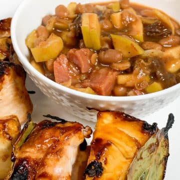 beans in a bowl with chicken