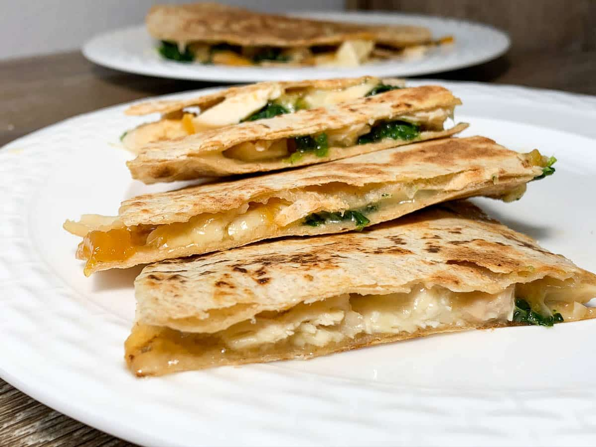 chicken quesadillas with apricot jam