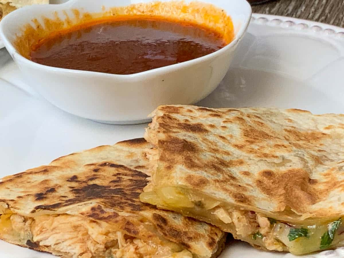 bbq sauce with chicken quesadillas