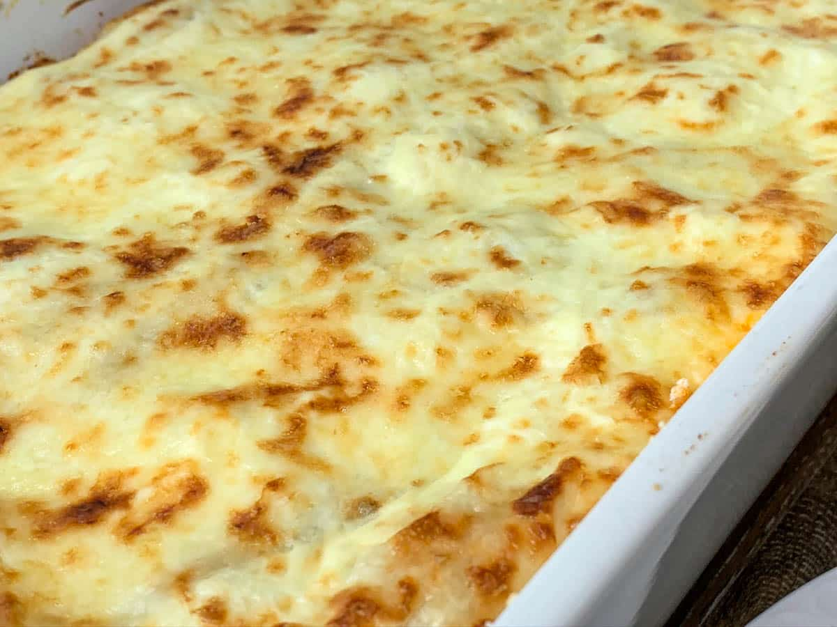 melted cheese on lasagna