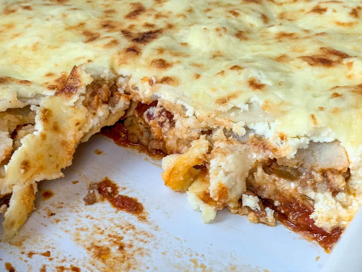 mexican lasagna in casserole dish