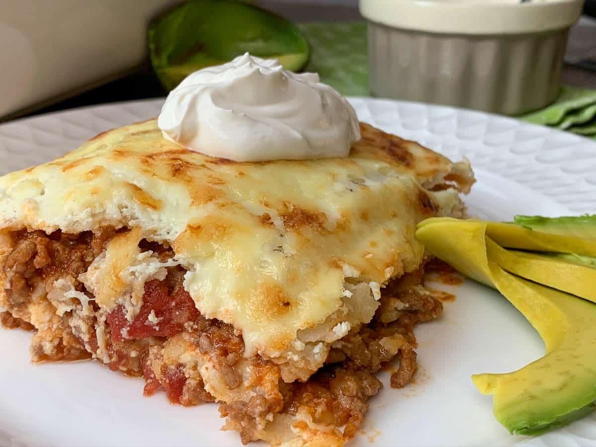 lasagna with sour cream and avocados