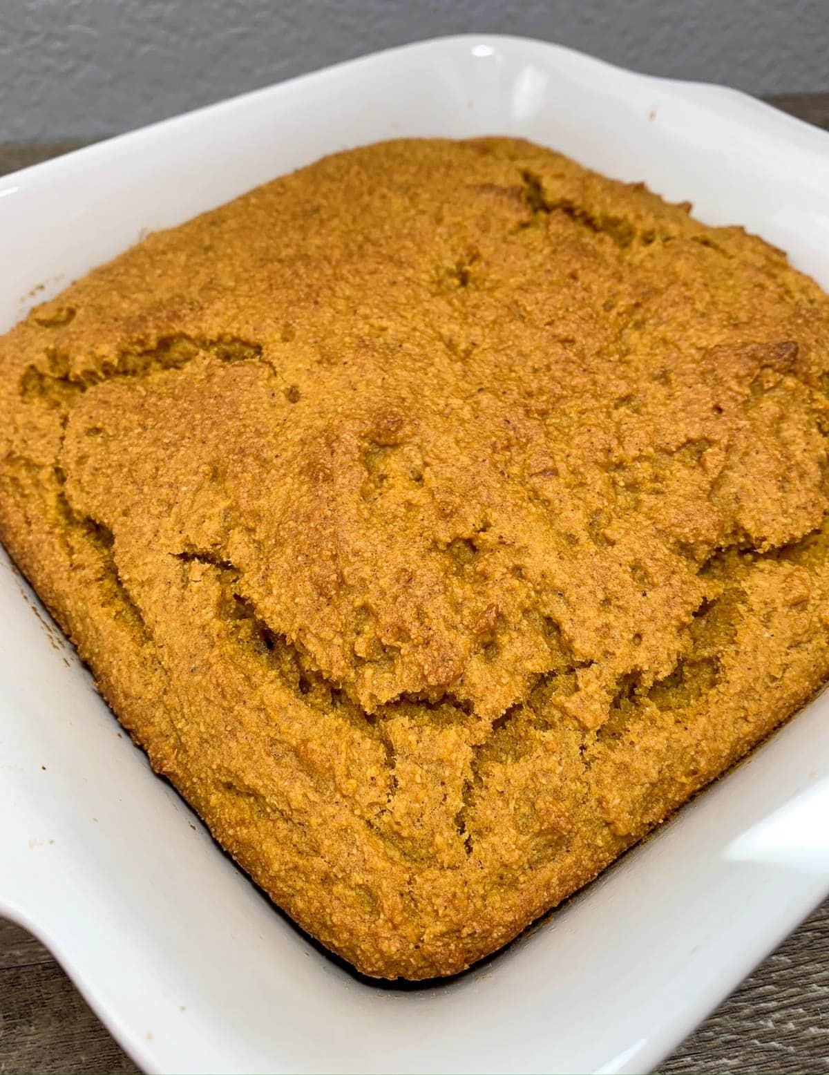 closeup of pumpkin cornbread