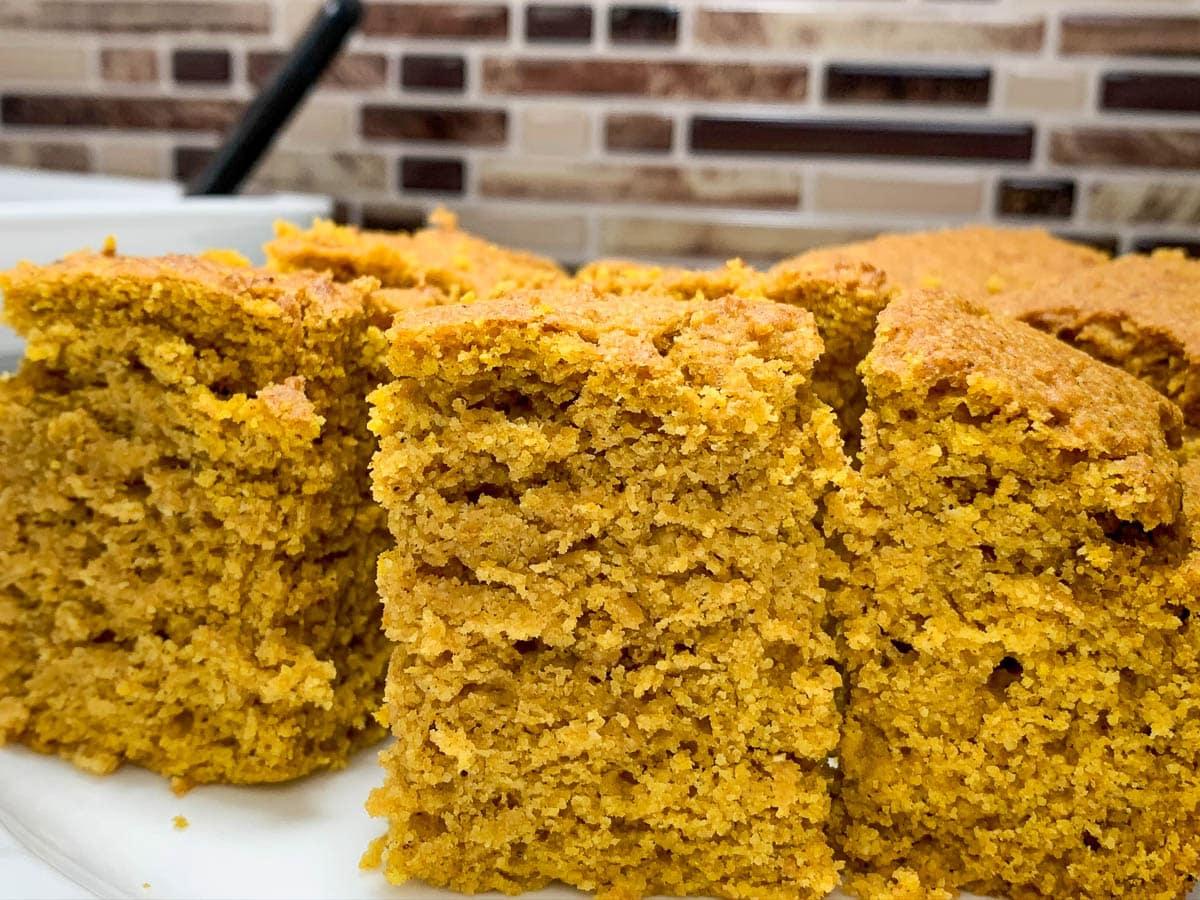 closeup of cut cornbread