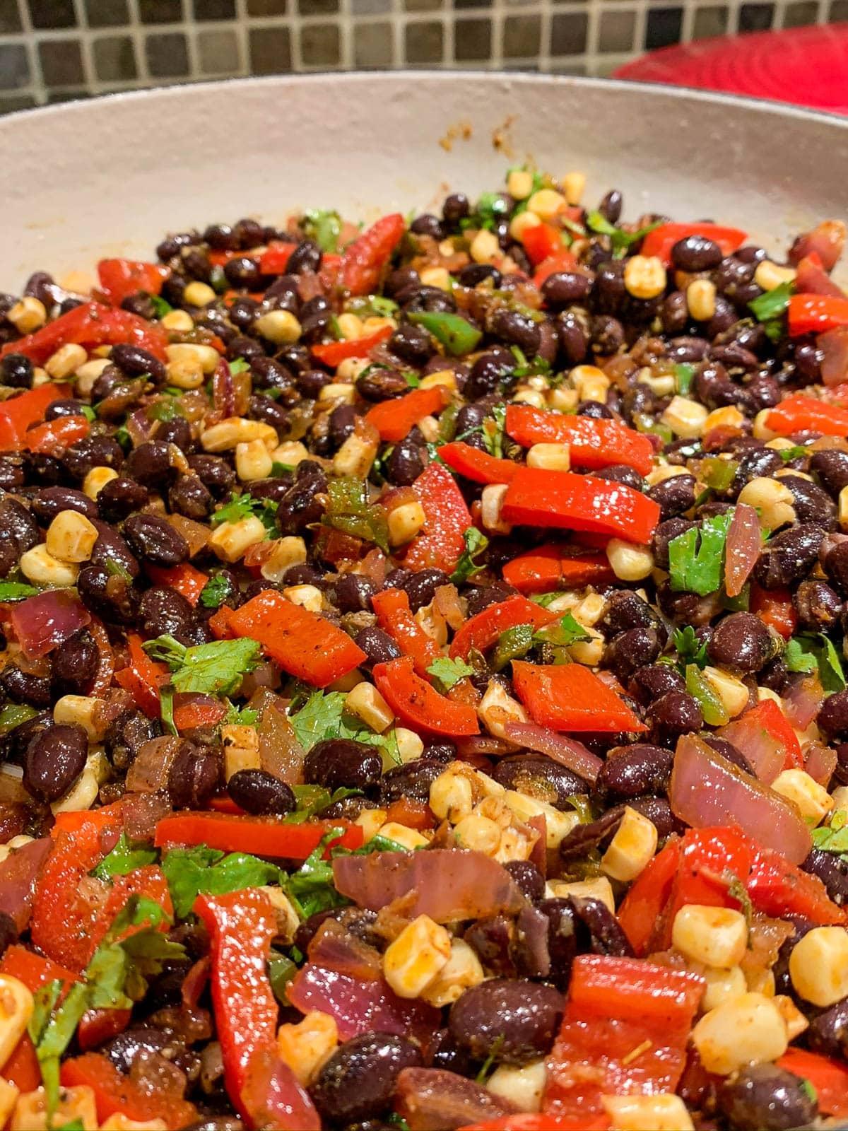 vegetable mixture in skillet